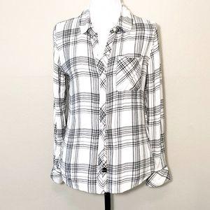 Rails Hunter Plaid Shirt in White/Black
